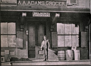 After returning from the Civil War, Joseph Frost worked in A. A. Adams' grocery store in Belmont. That building is no longer standing.