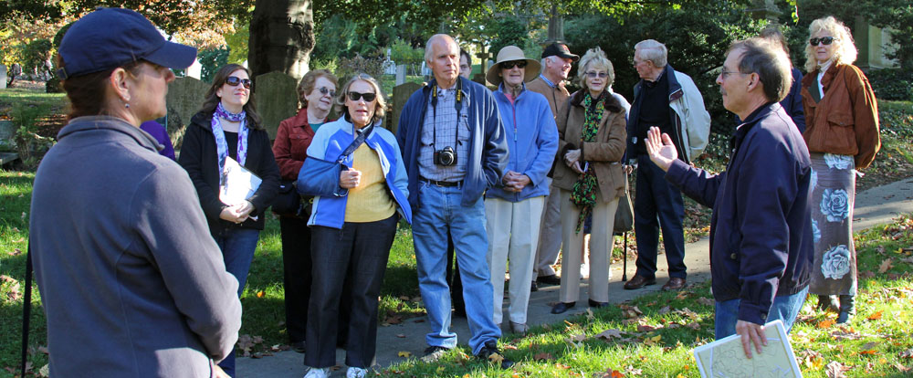 Members of the Belmont Historical Society and their guide during the tour of Mount Auburn Cemetery