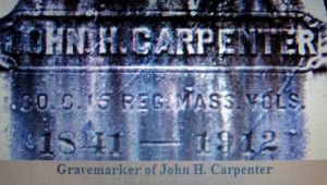 The marker of the grave of John Carpenter of Belmont. After the Civil War, he married and moved to Fitchburg.
