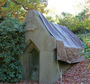 """The mausoleum of John Perkins Cushing whose country estate """"Bellmont"""" gave the town its name. The mausoleum is currently under repair."""