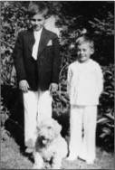 Richard at age 10 with his younger brother Edmund and their dog Muggins