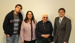 Three generations of the direct descendants of Warren Heustis attended the Belmont Historical Society's program on October 26. From left to right, Andre Pare, Nancy (Heustis) Pare, Carol Heustis, and Emilio E. Mauro, Jr, the president of the Belmont Historical Society