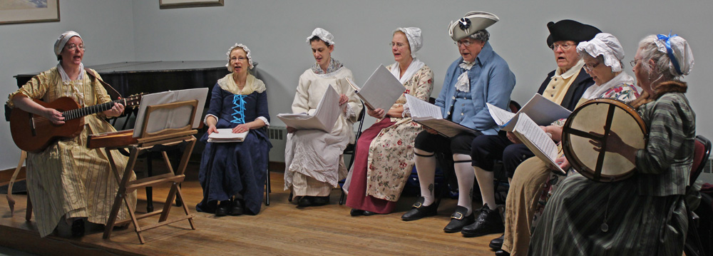 The Colonial Singers from the Lexington Historical Society performing at the Belmont Memorial Library on February 23, 2014