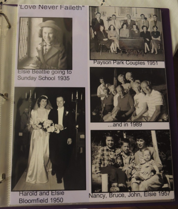 This page of the Memory Book is devoted to Elsie Beattie who is shown at various milestones over a 54-year period beginning as a Sunday School student at Payson Park Church in 1935.