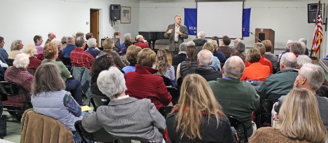 Boston area historian and author Stephen Puleo captivated the audience at the Belmont Historical Society's program on November 20, 2013.