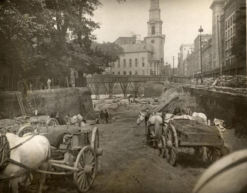 Construction of the first section of the Red Line subway in 1895 along Tremont Street beside the Boston Common. (Photograph from the Boston Carmen's Union, Local 589)