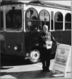 Richard leading one of his popular Trolley Tours of historic sites in Belmont