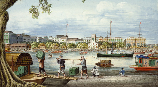 Trade with China was an important part of the Massachusetts economy in the mid-1800's. This image shows the port of Canton around 1852. © Peabody Essex Museum, Salem, Massachusetts