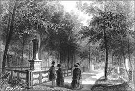 A 19th century engraving of Mt. Auburn Cemetery (image courtesy of the National Parks Service)