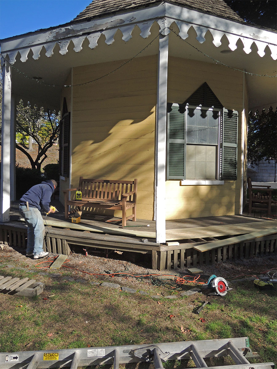 October 2016: Replacing rotted wood on the porch