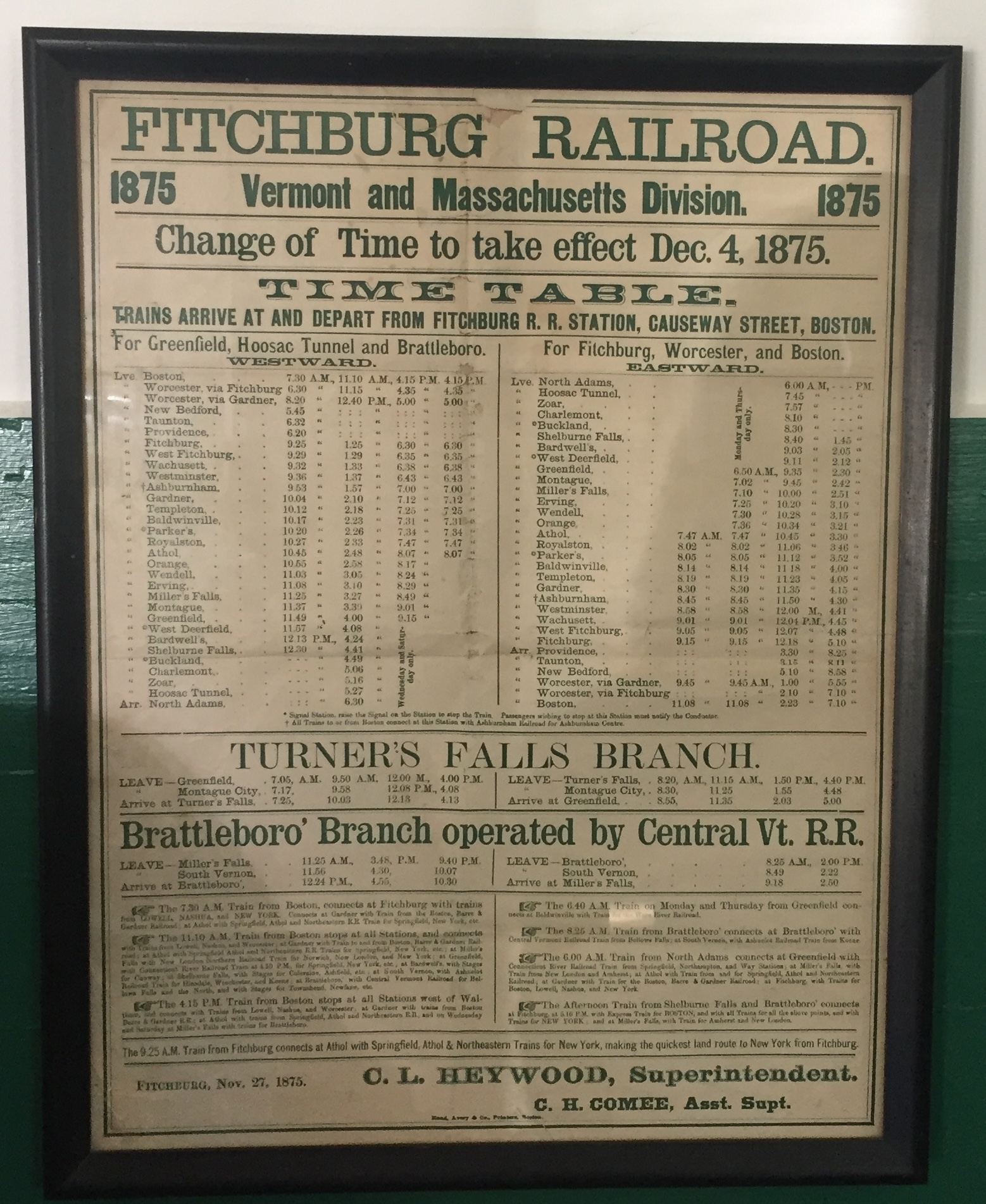 Fitchberg Timetable 1875